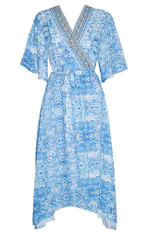Regan Blue Print Wrap Dress