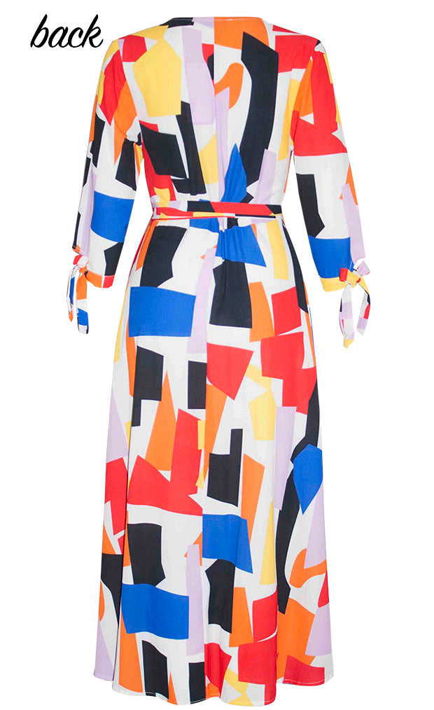 Stacey Geo Print Wrap Dress