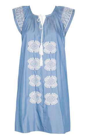 Gloria Blue Chambray Dress