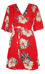 Desiree Red Floral Wrap Dress