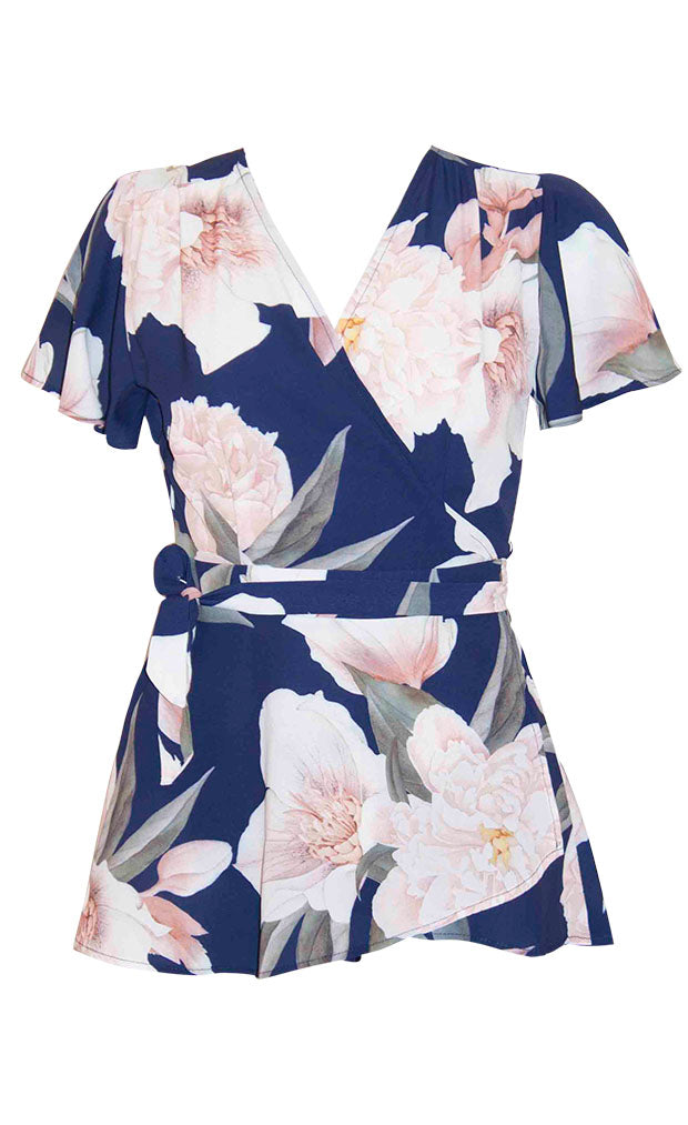 Sisters Navy Floral Wrap Top