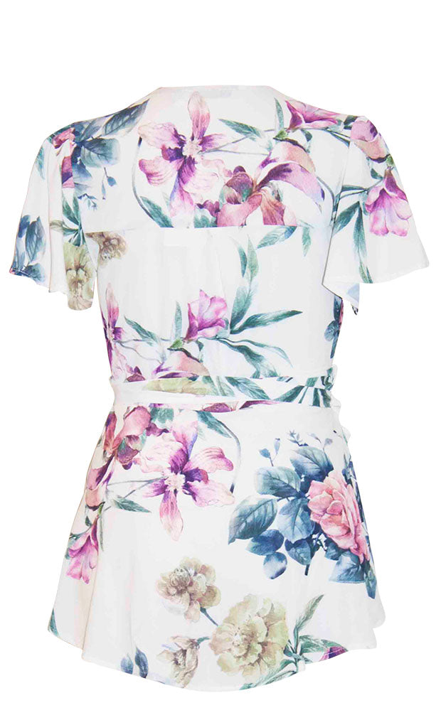 Sisters White Floral Wrap Top