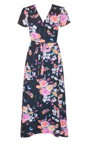 Fiesta Black Floral Wrap Dress