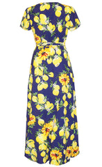 Fiesta Lemon Print Wrap Dress