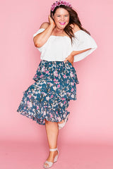 Thrilled Teal Floral Skirt