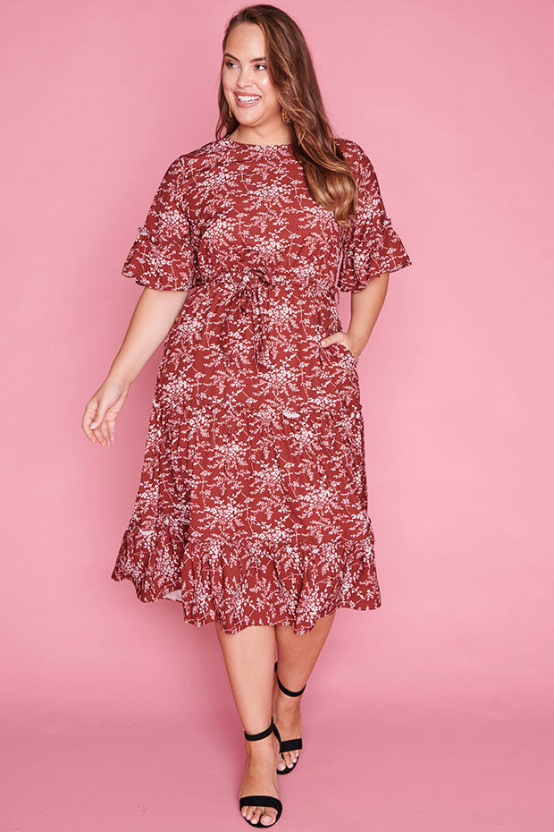 Cameron Burgundy Floral Dress