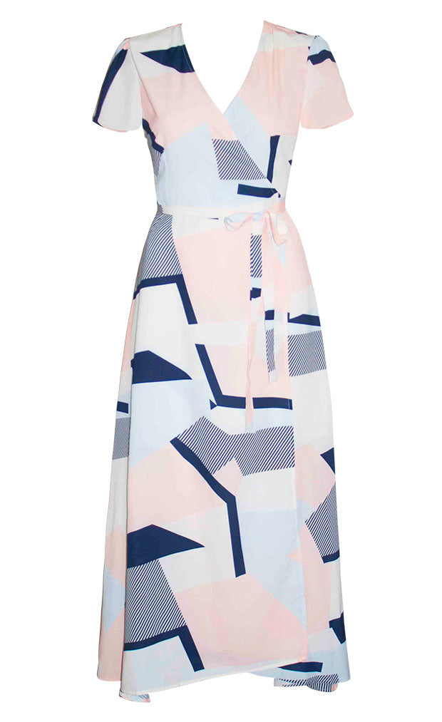 Fiesta Geometric Print Wrap Dress