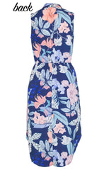Fiona Navy Tropical Shirt Dress