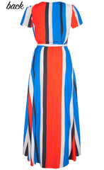 Fiesta Red Stripe Wrap Dress