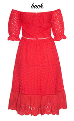 Natalia Red Lace Dress