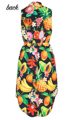 Fiona Fruit Salad Shirt Dress