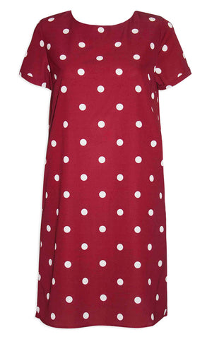 Maggie Burgundy Polka Dot Dress