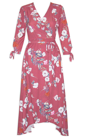 Stacey Burgundy Floral Wrap Dress
