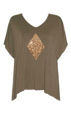 Tori Khaki Sequin Top