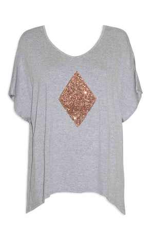Tori Grey Sequin Top