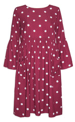 Kim Burgundy Polka Dot Dress