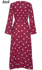 Sadie Burgundy Polka Dot Wrap Dress