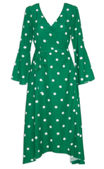 Sadie Green Polka Dot Wrap Dress