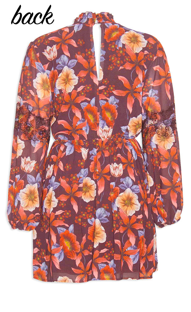 Tracey Burgundy Floral Dress
