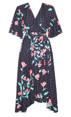 Mandy Black Floral Wrap Dress