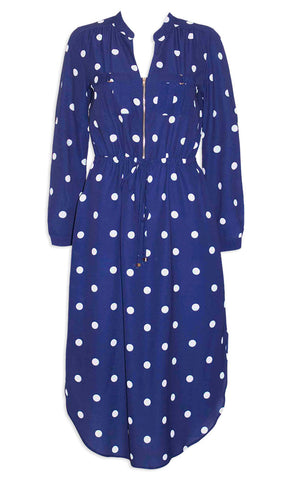 Miranda Navy Polka Dot Shirt Dress