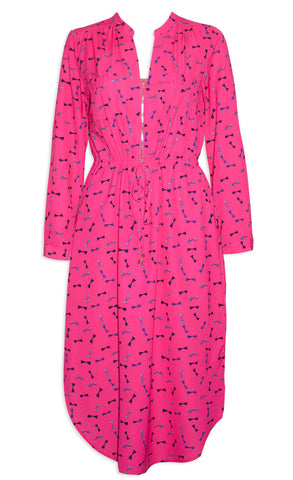Miranda Pink Bows Shirt Dress