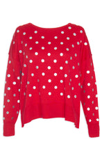 Hunter Red Polka Dot Knit