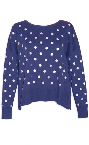 Hunter Navy Polka Dot Knit