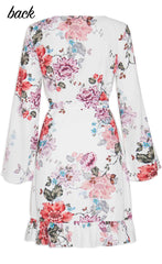 Jenna White Floral Wrap Dress