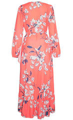 Miles Orange Floral Wrap Dress
