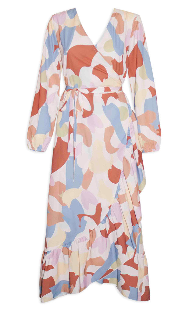 Miles Abstract Wrap Dress