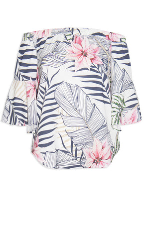 Glance White Tropical Top