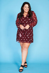 Anne Burgundy Polka Dot Dress