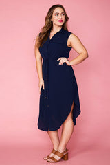 Chantelle Navy Shirt Dress