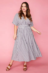 Angie Navy Stripe Wrap Dress
