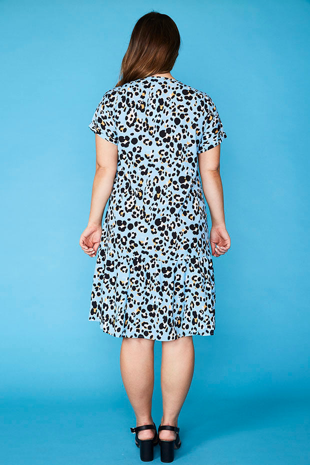 Charlotte Blue Leopard Dress