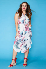 Chantelle White Floral Shirt Dress
