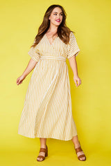 Angie Mustard Stripe Wrap Dress