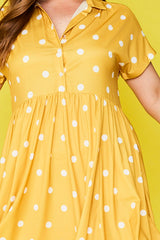 Frankie Mustard Polka Dot Dress