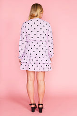 Verity Lilac Polka Dot Dress