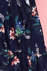 Miles Navy Floral Wrap Dress