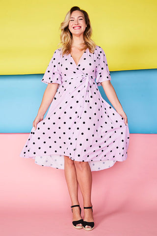 Mandy Lilac Polka Dot Wrap Dress