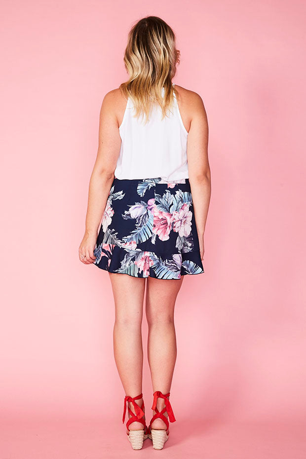 Pebbles Navy Floral Wrap Skirt