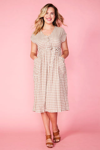 Georgie Beige Gingham Dress