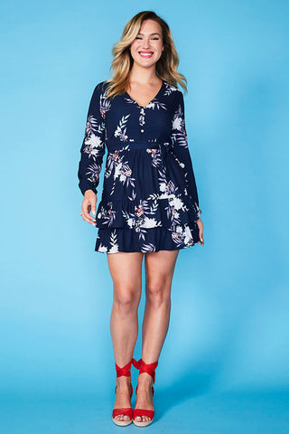 Verity Navy Floral Dress