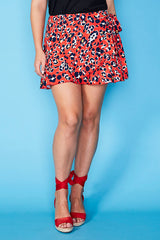 Pebbles Red Leopard Wrap Skirt