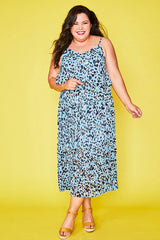 Barbara Blue Leopard Dress