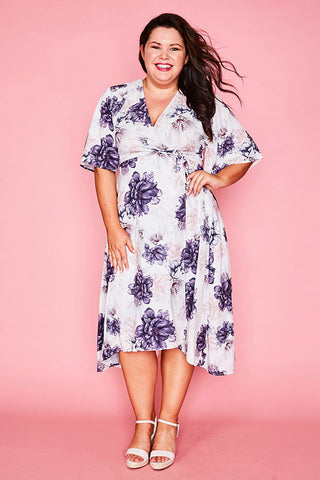 Mandy White & Purple Wrap Dress