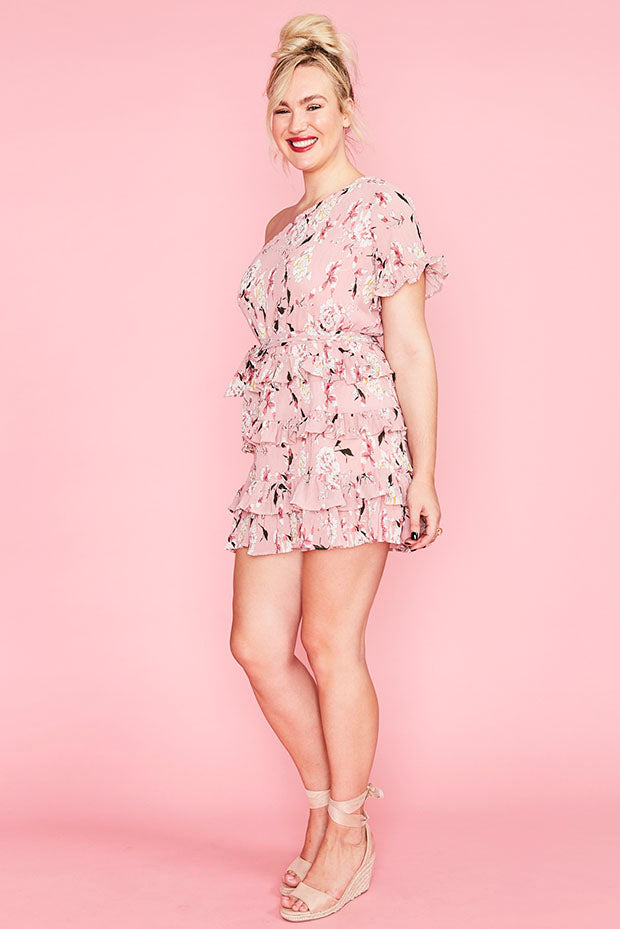 Obvious Pink Floral Dress