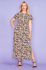 Gina Pink Leopard Maxi Dress